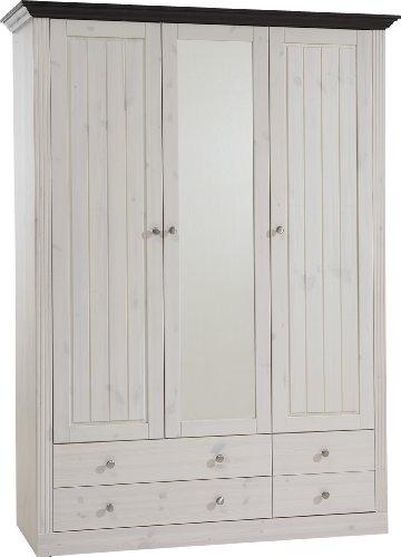 Steens Kleiderschrank Monaco Landhaus, 3 Türen und 3 Schubladen, 145 x 201 x 60 cm (H/B/T), Kiefer massiv, weiß lasiert/Top kolonial dunkelbraun