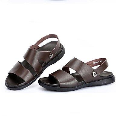 L'été, hommes sandales talon plat décontracté Cuir noir Autres Brown Walking Brown