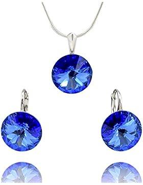Crystals & Stones *RIVOLI* *Saphir* - Schmuckset Ohrringe und Anhänger mit Silberkette aus 925 Silber mit original...