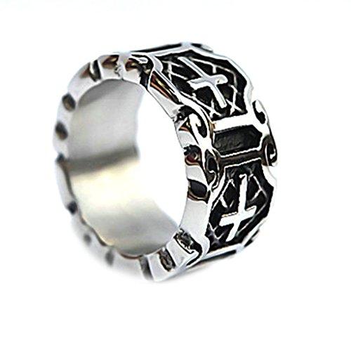 Epinki Herren Ringe, Edelstahl Herrenring Schwarz Silber Celtic Knot Kreuz Form Kreuzring Band 1cm Gr.67(21.3)