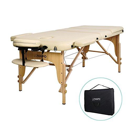 Naipo Massageliegen Massagebank Massagetisch Kosmetikliegen Behandlung Stuhl Liegen dreifach tragbare mit Hölzernen Füßen Deluxe Professionelle leichte Kostenlose Tragetasche -