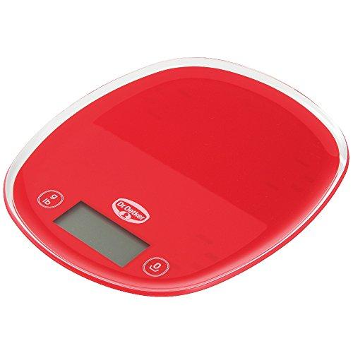 Dr. Oetker Digitale Backwaage 22cm, Küchenwaage mit großem und gut lesbarem Display, präzise Einteilung in 1g-Schritten, hoher Bedienkomfort durch Sensortasten, (Farbe: rot)