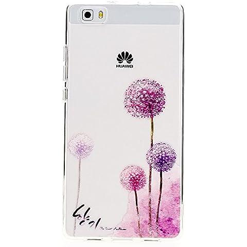 delightable24 Caso Case de la Cubierta de TPU Silicona HUAWEI P8 LITE Smartphone - Dandelion Pink Rosa