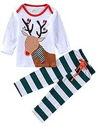 2PCS Weihnachten Kinder Karikatur Hirsch drucken Top + Streifen Hosen Set Outfit
