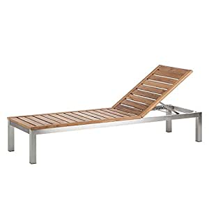 Gartenliege Soho Teakholz mit Edelstahl hochwertig Teakmöbel Sonnenliege Holzliege