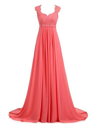 Erosebridal Spitze Chiffon Strand Hochzeitskleid Formal Abendkleider Koralle DE36