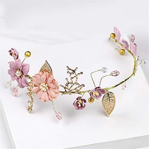 Exquisite Blume Blattgold Stirnband, Europäische Und AmerikaNische Braut Hochzeits-Kopfbedeckung, Mode HochzeitsKleid, Schmuck Kostüm Accessoires Für - Blattgold Stirnband Kostüm