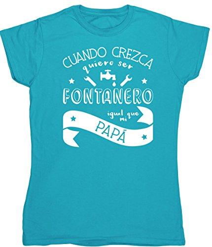 HippoWarehouse Cuando Crezca Quiero Ser Fontanero Igual Que Mi Papá camiseta manga corta ajustada para mujer