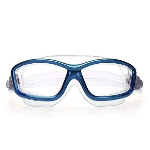 ZTMN Schwimmbrille HD wasserdicht großen Rahmen Brille Anti-Fog-Mode einfache Männer und Frauen (Farbe: Blau)