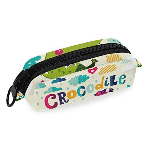 Niedliche Krokodil-Tier-Bleistifttasche Stifteetui mit großem Reißverschluss aus Segeltuch für Teenager, Mädchen, Jungen, Schule, Studenten, Schreibwaren