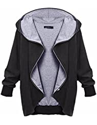 ZANZEA Femme Automne Hiver Grande Taille à Capuche Manches longues Chaud Zipper Cardigan Blouson Manteau Veste