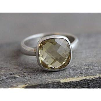 Kissenschliff Lemon Quartz Sterling Silber Ring US-Größe 8 / Diameter 18.2mm (norway)