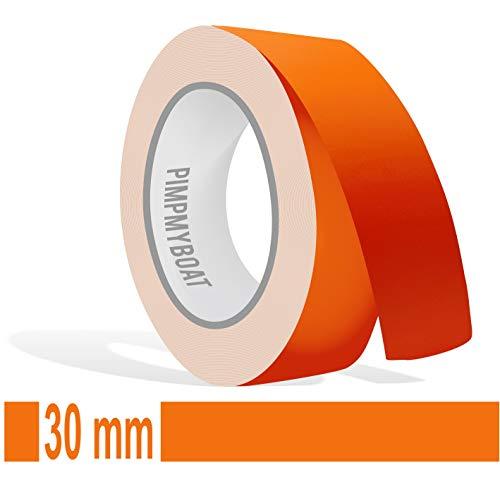 Siviwonder Zierstreifen orange matt in 30 mm Breite und 10 m Länge für Auto Boot Jetski Modellbau Klebeband Dekorstreifen -