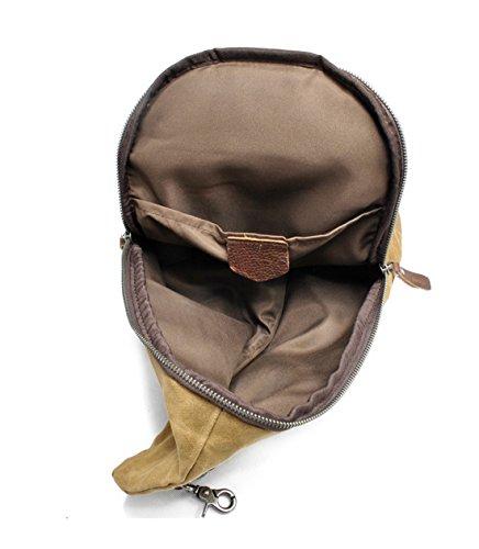 DAFROH Wasserdicht Schultertasche aus Gewachstem Canvas Unisex Umhängetasche für Outdoor Sport und Freizeit Exkursion A_Grau