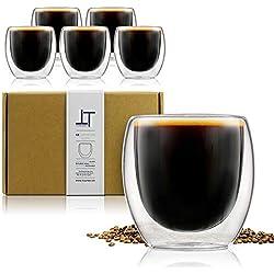Tempery ✮ Tasse à café/Expresso/Espresso en Verre - 8 cl - Set/Coffret de 6 Tasses à café Double paroi - Tasse Expresso Originale & Cadeau Parfait pour Toute Occasion