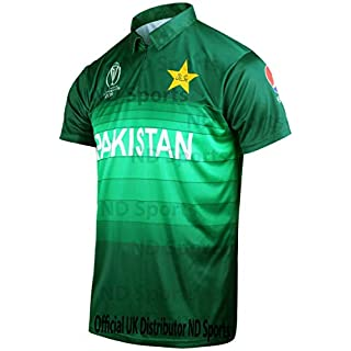 AJ Sports 2019 Icc Official Pakistan Odi Cricket World Cup Jersey Shirt Small