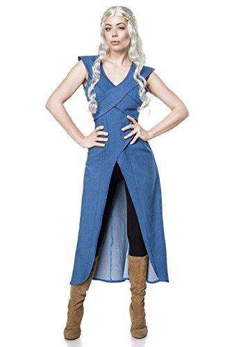 3 tlg. Drachenmutter Kostüm Drache Thrones Drachen Damen Karneval Game Blau Set