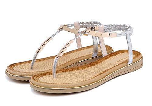 Frau Sommer Sandalen und Pantoffeln weibliche Metall Klippzehe flache Hausschuhe Badesandalen Frauen Silver