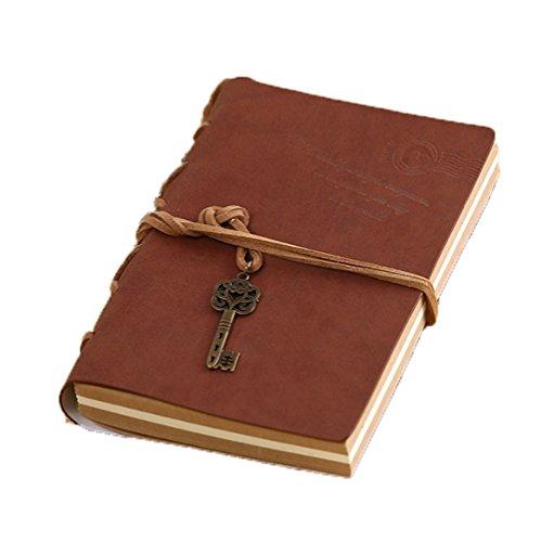 Zedtom Vintage-Notizbuch für Damen / Herren, nachfüllbares Reisetagebuch / Tagebuch, Premium-PU-Leder für Studenten; Schreibwaren braun (Reisedokument)