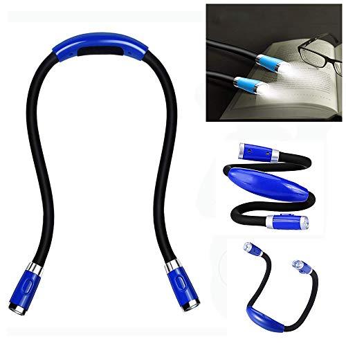 WIVION Luz de Libro LED de Cuello Recargable, Luces de Libro para Leer en la Cama, lámpara de Tejer 3 Niveles de Brillo, Manos Libres 2 Brazos Blandos Flexibles, (Cable USB Incluido)