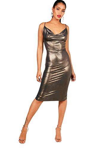 Marine Damen Georgina Metallic Cowl Neck Midi Dress