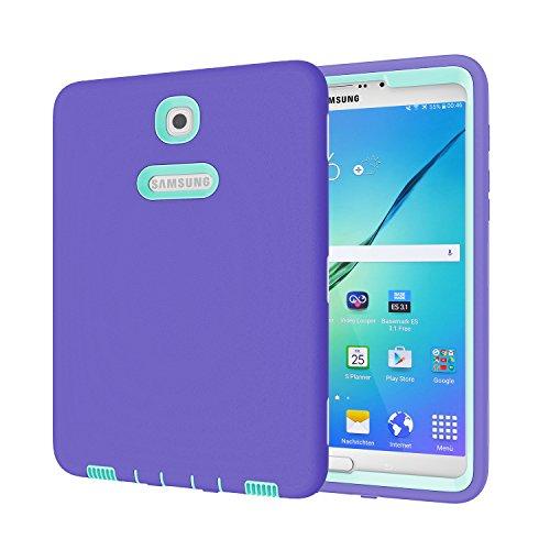 Galaxy Tab S28.0Fall, beimu 3in 1Hybrid PC + Silikon stoßfest stoßabsorbierenden Ecke/Bumper Schutz Armor Defender Schutzhülle für Samsung Galaxy Tab S28.0sm-t710/sm-t715, Purple+Aqua (Otterbox Samsung Tablet Tasche)