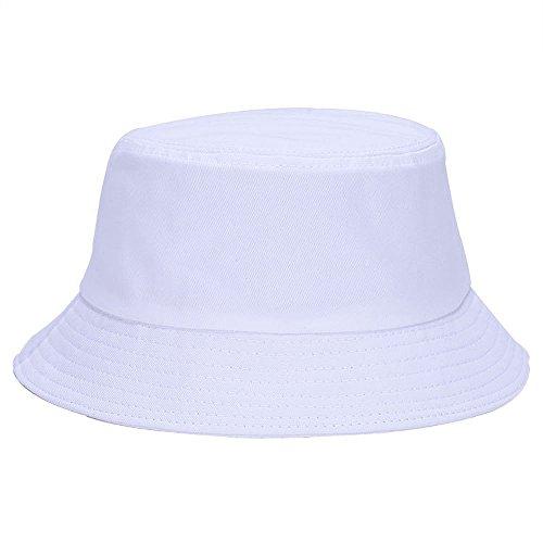 Kangqifen Unisex Außensonnenschutz-Hut Lässige Fisherman Cap Bucket Hats Weiß