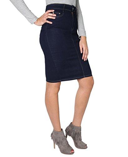2118-NVY-10: Pencil Regular Denim Midi Skirt (Marineblau, Gr.38) (Strass Elasthan Baumwolle,)