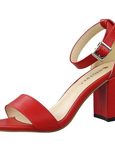 WSS 2016 Chaussures Femme-Habillé-Noir / Rouge / Blanc / Gris / Kaki / Amande-Gros Talon-Talons / Bout Arrondi / Bout Ouvert-Talons-Similicuir almond-us7.5 / eu38 / uk5.5 / cn38