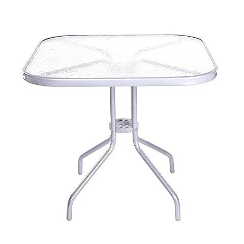 Table de jardin 80x 80cm Verre Trempé Table de balcon table d'appoint en métal argenté