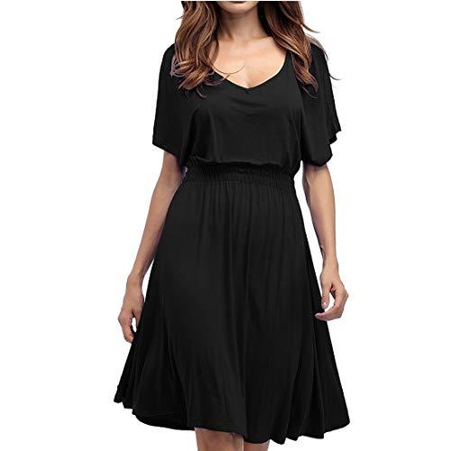 JESSIEKERVIN 002 Damen Plus Size V-Ausschnitt Kurzarm Solide Sommerkleid Minikleider (Color : Black, Size : XXL)