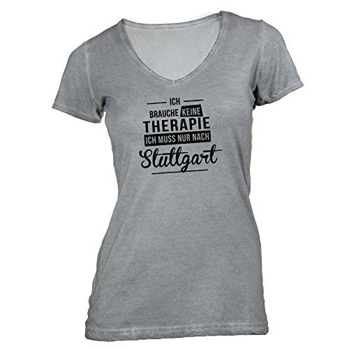 Damen T-Shirt V-Ausschnitt - Ich Brauche Keine Therapie Stuttgart - Therapy Urlaub Deutschland Grau