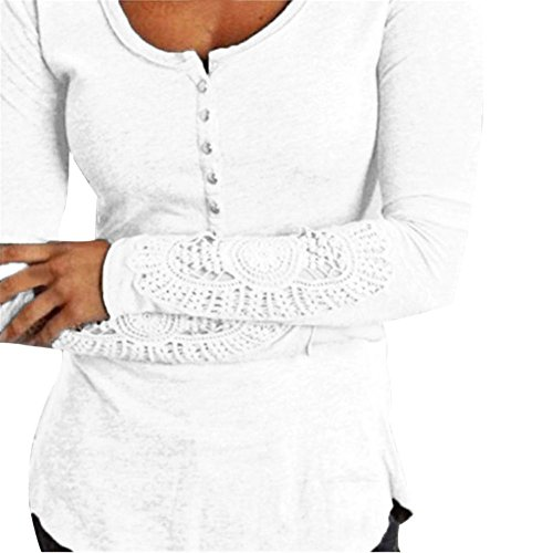 Etosell Femmes Manches Longues Casual Coton Chemise Tops Loose T-Shirt Blanc