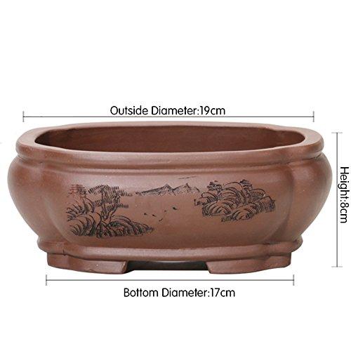 flower pot Nclon Style Chinois Fleur Pots Indoor Décoration,Revêtement Céramique Les Orchidées Pot De Fleur Chlorophytum Plante Verte Table Carré Bonsaï-c