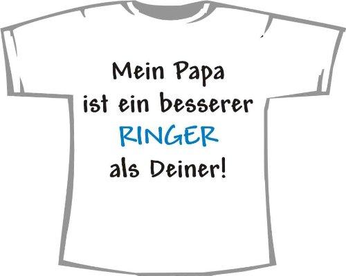 Mein Papa ist ein besserer Ringer als deiner; Kinder T-Shirt weiß, Gr. 1-2 (T-shirt Ringer Kinder 2)