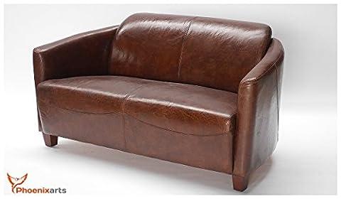 Echtleder Vintage 2-sitzer Sofa Braun Design Retro
