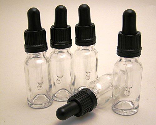 aus Glas mit schwarzer Pipette, 15ml, transparent, perfekt für Aromatherapie-Öle, Seren und Kosmetik-Produkte, 5Stück ()