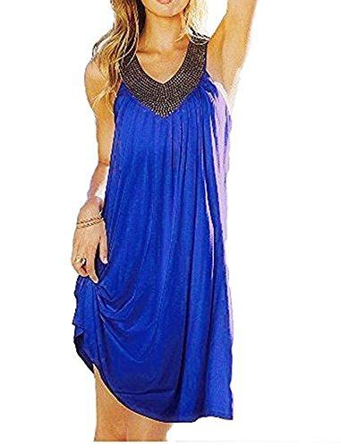 Robe européenne et américaine de la mode chaud de forage plage robe de vacances Beachwear Bleu