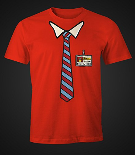 Herren T-Shirt Full Time Nerd Geek Fun-Shirt Moonworks® Nerd rot