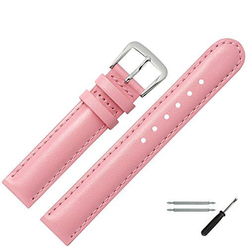 MARBURGER Uhrenarmband 12mm Leder Rose - Rindsleder - Inkl. Zubehör - Ersatzarmband, Schließe Silber - 2071243000120