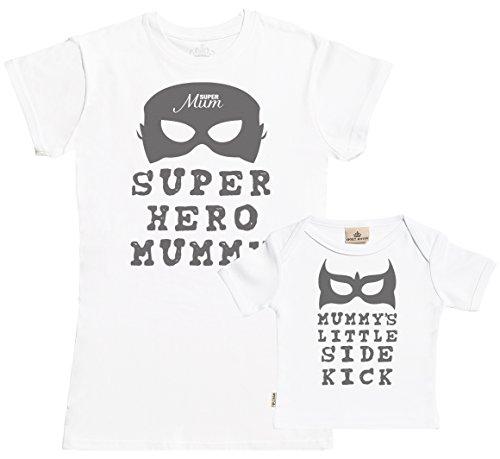 SR - Geschenkpackung Baby Geschenkset - Super Hero Mummy & Mummy's Little Side Kick Set zur Geburt Mutter T-Shirt und Baby T-Shirt - Mutter Baby Geschenkset in Geschenkbox - Weiß - S & 0-6M (Hero Super T-shirt Erwachsenen)