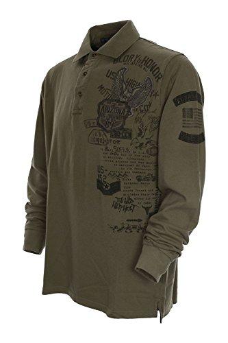 Kitaro Herren Langarm Shirt Poloshirt Pikee -Arizona US-Highway- Sand