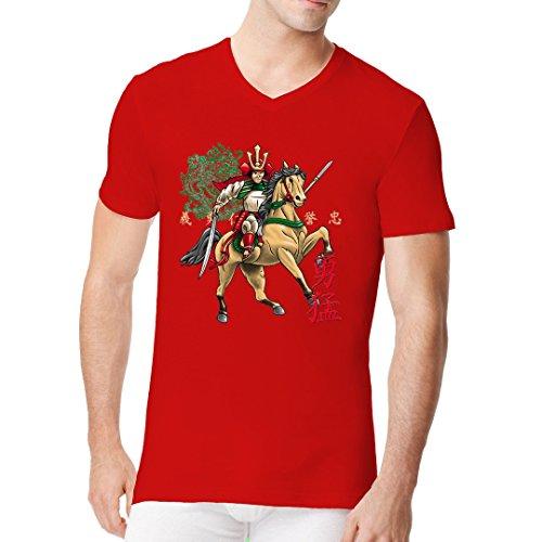 Fun Männer V-Neck Shirt - Horseback Samurai by Im-Shirt Rot