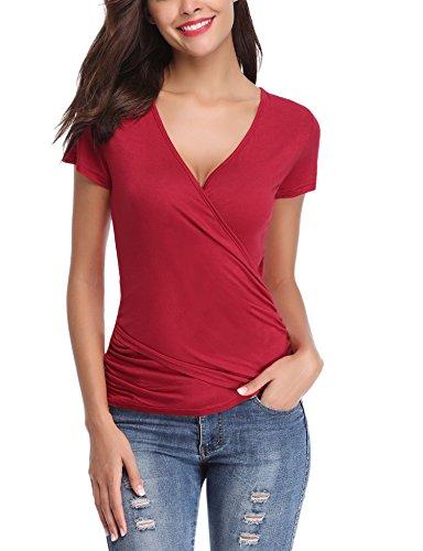 Abollria Damen V Ausschnitt Shirt Figurbetonte Bluse in Wickeloptik Kurzarm Stretch Sommer Top (Rot Body-shirt)