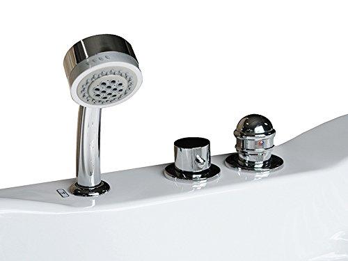 Whirlpool Badewanne St. Tropez mit 14 Massage Düsen + Heizung + Ozon Desinfektion + LED Unterwasser Beleuchtung / Licht + Wasserfall + Radio - Sprudelbad Hot Tub indoor / innen günstig - 2