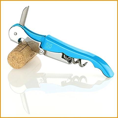 naruba Premium 3en 1couteau sommelier avec double levier | Tire-bouchon | Décapsuleur | Coupe Capsule | vin Couteau | Couverts Sommelier | F11Couteau à fileter | en div. couleurs bleu clair