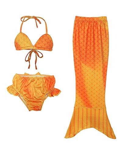 ReliBeauty Mädchen Badeanzug Bikini Set Meerjungfrau Schwanz Bademode Dreieck Trägertop Falten Schleife Badehose Badebekleidung, Gelb, 100 (Seaside Meerjungfrau Kostüme)