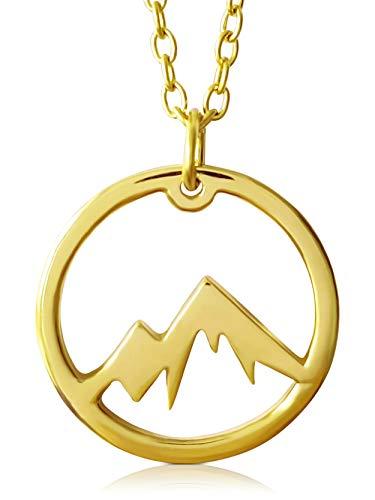 VIASOUL® Halskette Berge I Die Berge Kette für Damen aus 925er Silber I Mit 585er Gold überzogen I Die Original Mountain Love Kette (Gold)