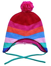 Toby Tiger 100% Cotton outer super cosy fleece lined multi girl stripe knitted hat is warm and practical. - Bonnet - Fille