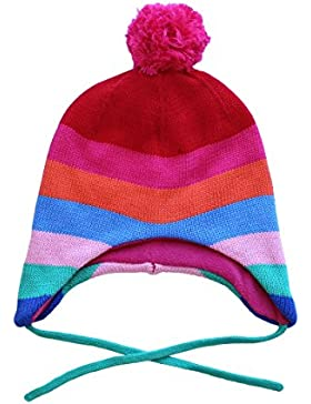 Toby Tiger - 100% Cotton Outer Super Cosy Fleece Lined Multi Girl Stripe Knitted Hat Is Warm And Practical., Cappellopello...